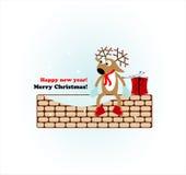 Christmas deer with gift Stock Image