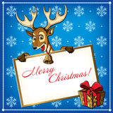 Christmas Deer. Greeting card. Stock Photos