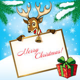 Christmas Deer. Greeting card. Royalty Free Stock Image