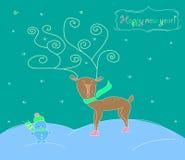 Christmas deer. Christmas greeting card with deer and snowman Stock Image