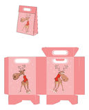 Christmas Deer, Handbags Packages Pattern Royalty Free Stock Photography