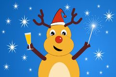 Funny сhristmas deer. Christmas deer. In the hands of a glass of champagne and Bengal fire, on the head a Christmas cap Stock Image