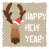 Christmas deer happy face. Cartoon funny character. Graphic style on Christmas and New Year. Stock Image