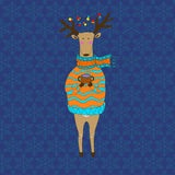 Christmas deer. Happy New Year. Reindeer. Christmas deer. Merry Christmas and happy New Year postcard with dressy deer. Holiday greetings. Festive reindeer Vector Illustration
