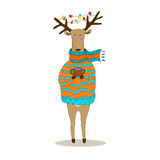Christmas deer. Happy New Year. Reindeer. Christmas deer. Merry Christmas and happy New Year postcard with dressy deer. Holiday greetings. Festive reindeer Stock Illustration