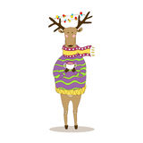 Christmas deer. Happy New Year. Reindeer. Christmas deer. Merry Christmas and happy New Year postcard with dressy deer. Holiday greetings. Festive reindeer Royalty Free Illustration