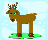 Christmas Deer with Hat Royalty Free Stock Images