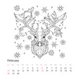 Christmas deer head doodle. Christmas deer head doodle with lighting bulb.Animal zen art relax anti stress coloring book collection.February calendar 2017 page Royalty Free Stock Photography
