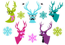 Christmas deer heads, vector set. Christmas deer  heads with mustache and spectacles, set of vector design elements Royalty Free Stock Photos