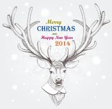 Christmas deer. Holiday background. EPS 10 Royalty Free Stock Photo