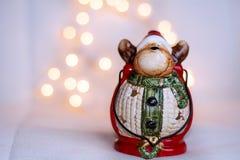 Christmas deer lantern on a bokeh background Stock Photography