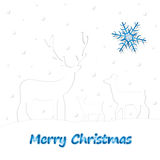 Christmas Deer and little baby deer. Falling snow on a white background. New year's illustration Royalty Free Stock Photography