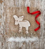 Christmas deer made of birch bark Stock Images
