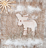 Christmas deer made of birch bark Royalty Free Stock Photo