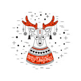 Christmas deer. Merry Christmas and Happy New Year. Vector Illustration Royalty Free Stock Images