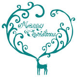 Christmas deer with Merry Christmas text Royalty Free Stock Photography