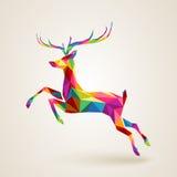 Christmas Deer Multicolor Origami Stock Image