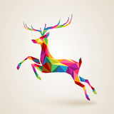 Christmas deer multicolor origami Stock Image