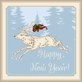 Christmas deer. New Year. Christmas. Vintage postcard. New Year`s and Christmas. Vintage vector card with a deer Royalty Free Stock Photo