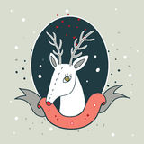 Christmas deer New Year Holiday greeting card design template Stock Photography