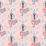 Christmas deer for new year wrapping paper. Vector seamless pattern. Stock Image