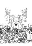 Christmas Deer Outline Seamless Border Stock Images