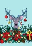 Christmas Deer Outline Seamless Border Stock Photography
