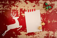Christmas deer paper card top view template Royalty Free Stock Image