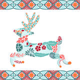 Christmas deer pattern made from flowers and leaves, bohemian style. Holiday design, New Year, Christmas background. Ethnic ornament, vector illustration Royalty Free Stock Image