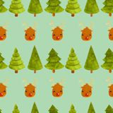 Christmas deer pattern with new year tree stock photo