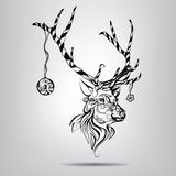Christmas deer with patterns of vegetation. Vector illustration. Black and white decorative festive reindeer ornament Royalty Free Stock Photos