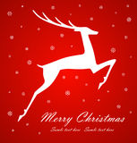 Christmas deer on red background. Vector royalty free illustration