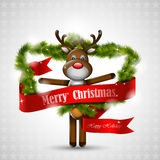 Christmas deer with red banner Royalty Free Stock Photography