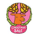 Christmas deer Sale badge Royalty Free Stock Photos
