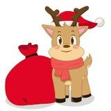 Christmas Deer. Deer with Santa Christmas bag Stock Photo