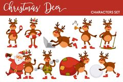Christmas deer and Santa cartoon characters icons for New Year greeting card design template. royalty free stock photography