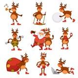 Christmas deer and Santa cartoon characters vector icons winter holiday greeting card Royalty Free Stock Image