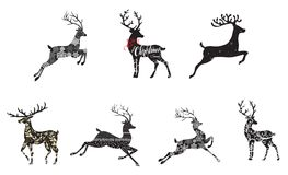 Christmas Deer. A set of styled reindeer, great for Christmas projects vector illustration