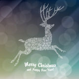 Christmas deer silhouette on glowing background Stock Photography