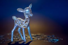 Christmas deer silver. Copy space. stock images