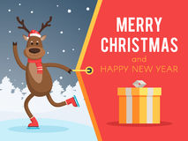 Christmas deer on skates banner. Christmas deer on skates and a Santa hat pulling a banner merry Christmas and Happy New year. Vector illustration for holiday Royalty Free Stock Photo