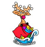 Christmas deer  sled cartoon Royalty Free Stock Image