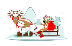 Christmas deer on sleigh with tree and gift Royalty Free Stock Image
