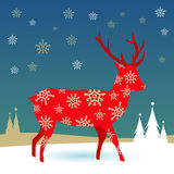 Christmas deer in the snow Royalty Free Stock Image