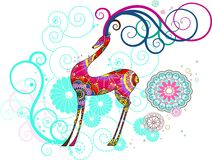 Christmas deer with snowflakes, vector. Beautiful vector illustration, detailed drawing Royalty Free Stock Photos