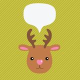 Christmas deer with speech bubble Stock Photography