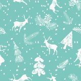 Christmas deer spruce seamless pattern blue background. Christmas deer spruce cone seamless pattern with falling snow. Xmas cool wallpaper on the blue background Royalty Free Stock Photo