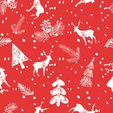 Christmas deer spruce seamless pattern. Christmas deer spruce cone seamless pattern with falling snow. Xmas cool wallpaper on the red background Royalty Free Stock Photo