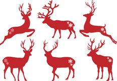 Christmas deer stags, vector set Royalty Free Stock Photo