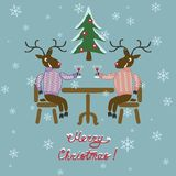 Christmas deer in sweater Stock Photos